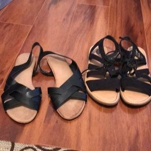 Two pair of Black Sandals Size 8 Gently Used